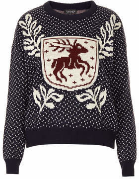 Topshop Knitted stag crest jumper