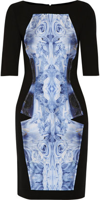 Prabal Gurung Paneled satin and wool-blend dress