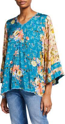 Johnny Was Plus Size Ilene Floral Print Kimono-Sleeve Blouse