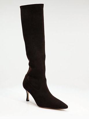 Manolo Blahnik Pascalare Suede Knee-High Boots