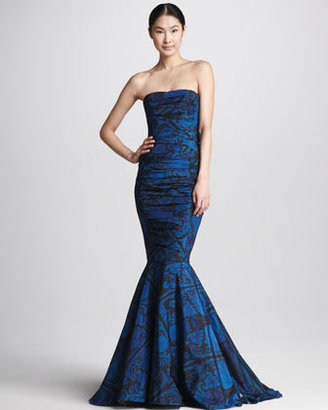 Vera Wang Printed Strapless Ruched Mermaid Gown, Navy