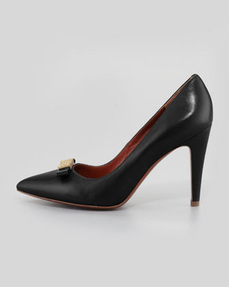 Marc by Marc Jacobs Leather Pointy Logo-Bow Pump, Black