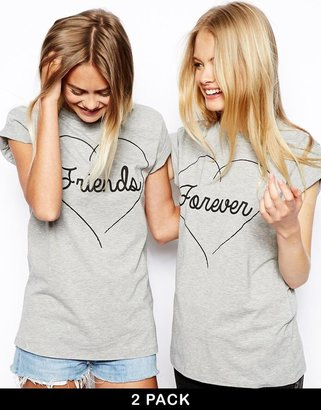 Asos Boyfriend T-Shirt with Friends Forever Print 2 Pack SAVE 11%