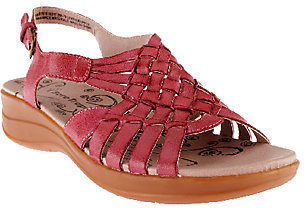BareTraps Leather Woven Sandals w/ Adj. Back Strap - Jabber $24.35 thestylecure.com