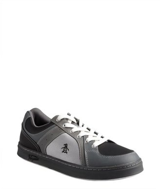 Original Penguin steel and black leather and nylon lace-up 'Front' sneakers