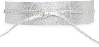 MANGO Leather sash belt