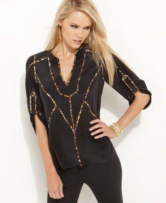 BCBGMAXAZRIA Top, Rolled Sleeve Silk