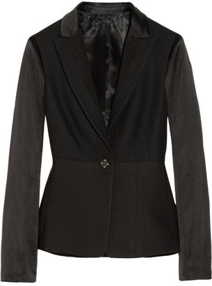 The Row Betty stretch-wool hopsack, silk-satin and silk-jacquard blazer