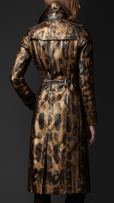 Burberry Overprinted Python Trench Coat