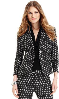 Vince Camuto Jacket, Three-Quarter-Sleeve Diamond-Print Blazer