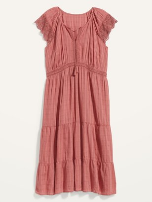 Old Navy Waist-Defined Crochet-Sleeve Tie-Neck Plus-Size Midi Dress