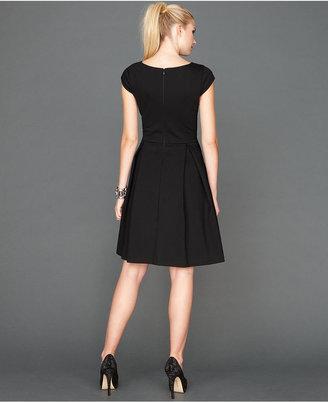 INC International Concepts Dress, Cap-Sleeve Boat-Neck Flared