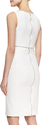 ADAM by Adam Lippes Sleeveless Cady Dress with Back Zip, White