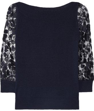 Erdem Rose merino wool and lace sweater