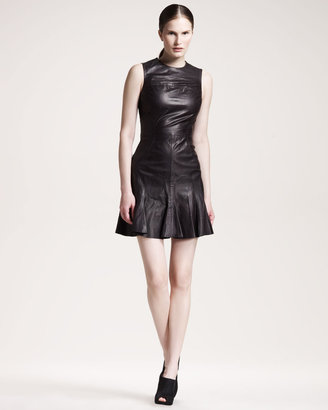 Derek Lam 10 Crosby Flare-Skirt Leather Dress