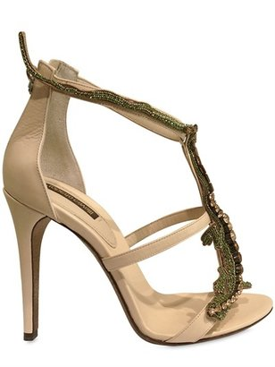 Roberto Cavalli 110mm Embroidered Lizard Leather Sandals