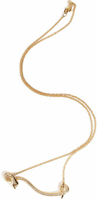 Ileana Makri 18kt Yellow Gold Flying Snake Necklace with Diamonds