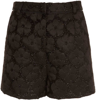 Topshop Black Fluffy Flower Shorts