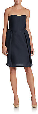 Carven Wool Gazar Strapless Cocktail Dress