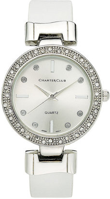 Charter Club Women's White Leather Strap 34mm