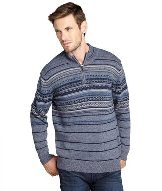 Hickey Freeman blue wool blended fair isle intarsia knit zip neck sweater