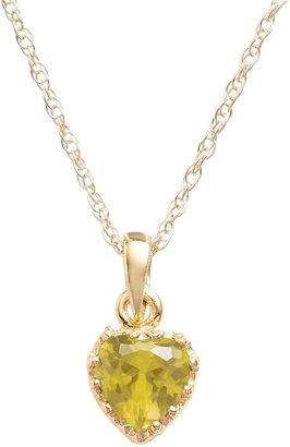 Tiara 14k Gold Over Silver Citrine Heart Crown Pendant