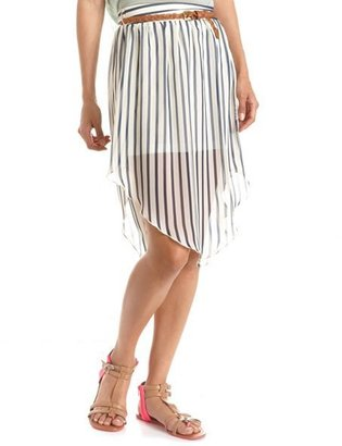 Charlotte Russe Belted Vertical Stripe Hi-Low Skirt