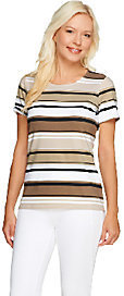 Liz Claiborne New York Scoop Neck Short Sleeve Striped T-Shirt $8.01 thestylecure.com