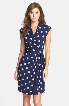 Women's Eliza J Polka Dot Jersey Faux Wrap Dress $118 thestylecure.com