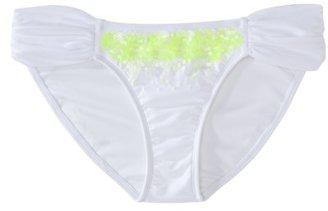 Xhilaration Junior's Hipster Swim Bottom w/ Sequin -White
