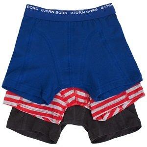 Bjorn Borg Pack of 3 Blue, Navy & Red Trunks