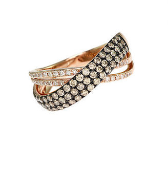 EFFY 14Kt. Rose Gold Brown & White Diamond Crossover Ring