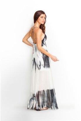 GUESS Abstract Tie-Dye Silk Maxi Dress