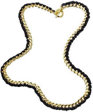 Andrew Hamilton Crawford Black Ribbon Curb Link Necklace