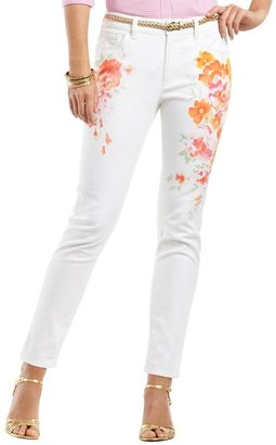 Chaps floral skinny ankle jeans