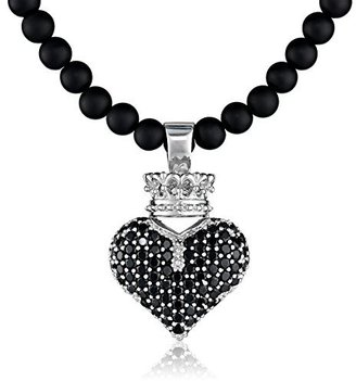 """King Baby 3D Pave Black Crowned Heart Pendant Necklace On 18"""" Onyx Bead Necklace $545 thestylecure.com"""