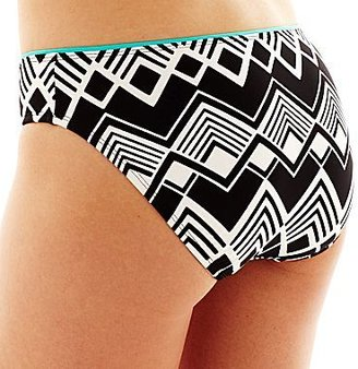 JCPenney a.n.a® Diamond Print Hipster Swim Bottoms