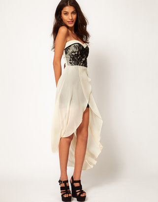 TFNC Dress with Lace Bodice and Hi Lo Skirt