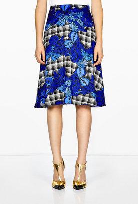 Ostwald Helgason Bonded Silk Graphic Print Skirt