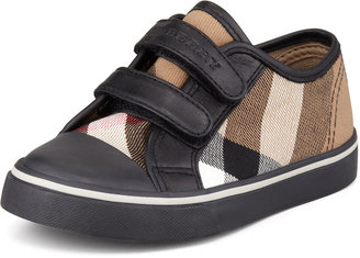 Burberry Check Double-Strap Sneaker, Kids' Sizes