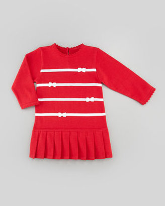 Florence Eiseman Holly Striped Drop-Waist Dress, Red, Sizes 4-6X