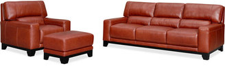 Luke II Leather 3-Piece Sofa Set (Sofa, Chair & Ottoman)