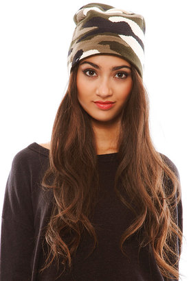 Plush Extra Slouchy Camo Beanie in Green