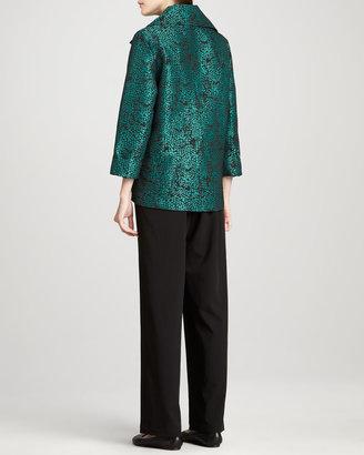 Caroline Rose Pebble Jacquard Jacket, Basic Stretch Tank & Stretch-Gabardine Travel Pants