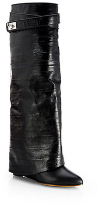 Givenchy Eel Skin & Leather Shark-Lock Knee-High Boots