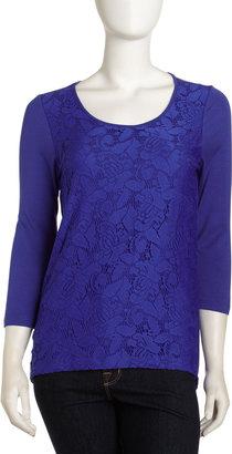 Neiman Marcus Lace-Front Jersey Tee, Blue Bird
