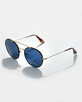 Prada Catwalk Round Aviator Sunglasses, Blue Havana