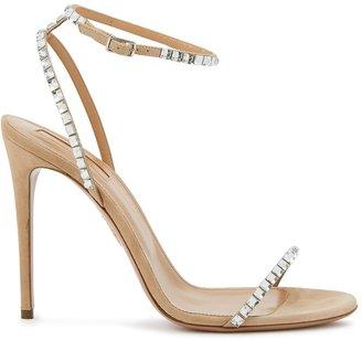 Aquazzura Very Vera 105 Camel Suede Sandals