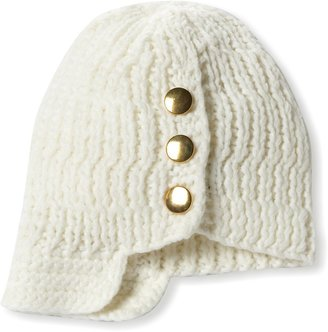 La Fiorentina Women's Knit Brimmed Beanie Hat with Button Detail