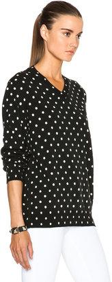 Comme des Garcons Wool Jersey Dot Print Black Emblem Sweater